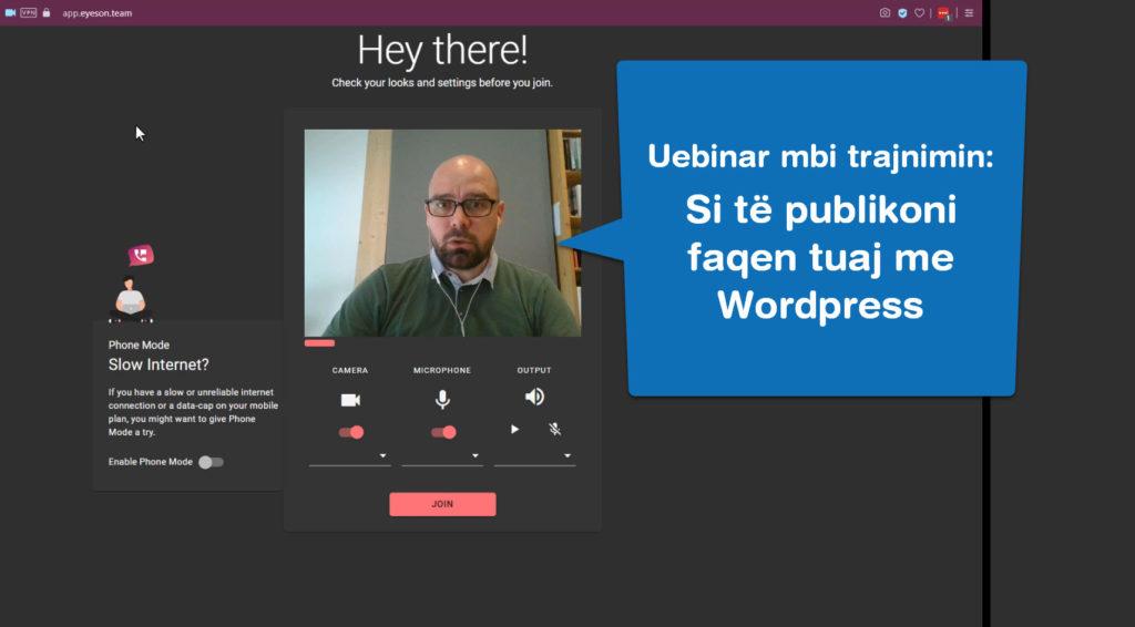Uebinar per trajnimin si te publikoni faqen tuaj ne Wordpress